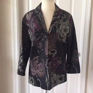 Chico's Brocade Blazer Jacket Sz 3 Black Floral